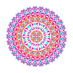 Vector colorful mosaic mandala. Beautiful design element in ethnic style. Indian, tribal, oriental ornament