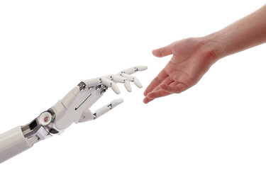 Human and Robot Hands Reaching Artificial Intelligence Concept 3d Illustration