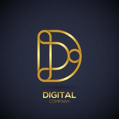 Letter D Logo Design.Linked shape circle symbol,Digital,Gold color