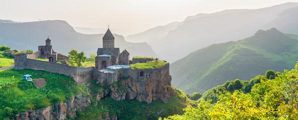 Obraz Beautiful view of ancient monastery in setting sun. Tatev. Armenia - fototapety do salonu