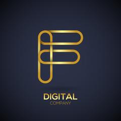 Letter F Logo Design.Linked shape circle symbol,Digital,Gold color