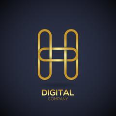 Letter H Logo Design.Linked shape circle symbol,Digital,Gold color