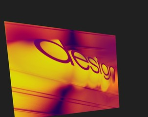 Design word perspective in thermal infrared light. On a black background.