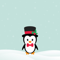 cute penguin with snow