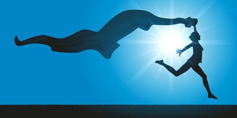 Femme - saut - Foulard - Tissu - Vitalité - Liberté