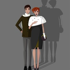 Colorful illustration of couple.