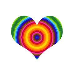 Abstract heart with bright colorful round pattern