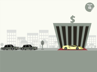 VIP concept,comparison between super car and general car when park at the bank