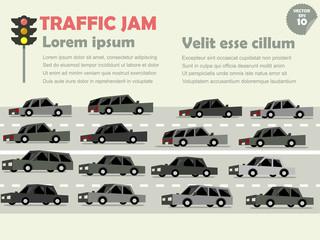 info graphic of traffic jam, traffic jam concept