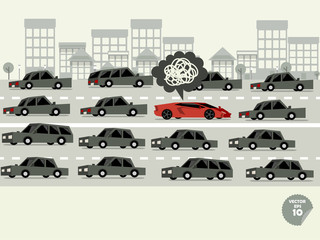 traffic jam concept,super car stuck in traffic jam and driver is in bad mood