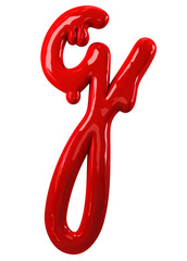 Leaky red alphabet Isolated on White background. Handwritten Cursive Small letter g. 3d rendering