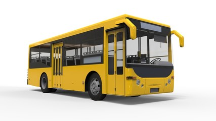 Small urban yellow bus on a white background. 3d rendering.