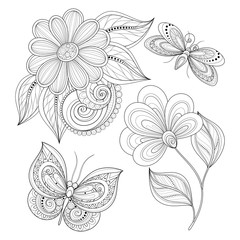 Vector Set of Beautiful Monochrome Floral Design Elements with I