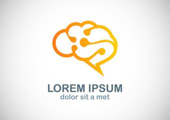 brain technology vector logo