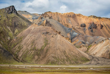 Dramatic multicoloured mountains at Landmannalaugar,Iceland
