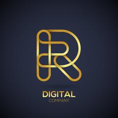 Letter R Logo Design.Linked shape circle symbol,Digital,Gold color