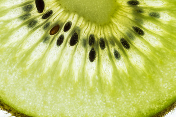 Macro of a thin slice of Kiwi