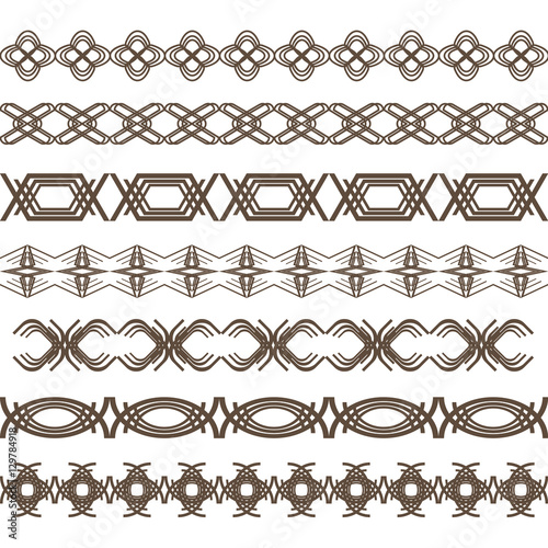 set of border lines decorative lines for design stock image and