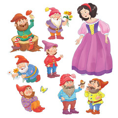 Fairy tale. The Snow White and seven dwarfs. Illustration for children