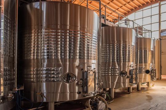 Modern wine fermenters in Extremadura, Spain