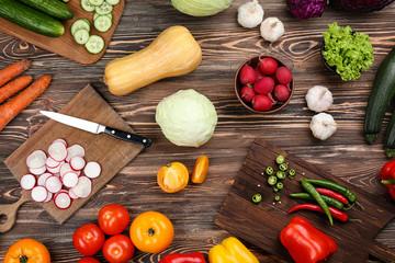 Fresh vegetables on wooden background