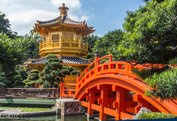 Front View The Golden Pavilion Temple in Nan Lian Garden, Hong Kong