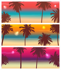 Travel Banner with Palm Trees. Exotic landscape. Vector