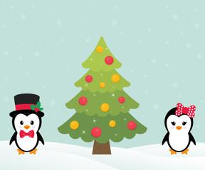 cute penguin set and christmas fir tree