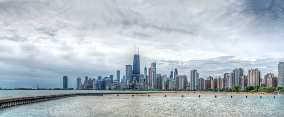 Chicago Skyline and lake Michigan on a hot summer day