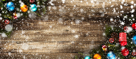 Merry Christmas Frame with Snow and real wood green pine and baubles