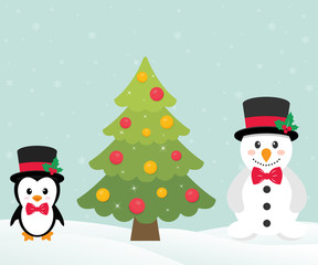 cute penguin with christmas fir tree and snowman