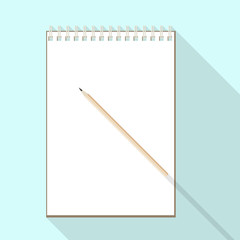 top view of flat vector design pencil and notebook with blank white sheet on background with long shadow effect