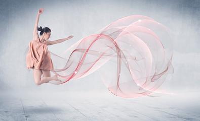 Foto op Aluminium Dance School Dancing ballet performance artist with abstract swirl