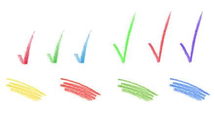 set of color pencil strokes