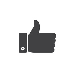 thumb up icon vector, filled flat sign, solid pictogram isolated on white, logo illustration