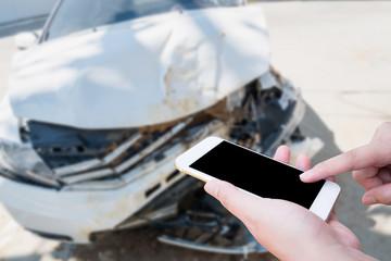 taking photo of the car crash accident damage