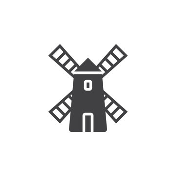 Windmill icon vector, filled flat sign, solid pictogram isolated on white, logo illustration