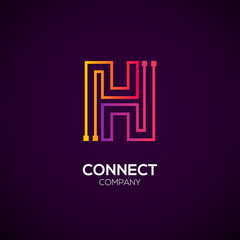Letter H logotype Purple and Orange color,Technology and digital abstract dot connection vector logo