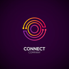 Letter O logotype Purple and Orange color,Technology and digital abstract dot connection vector logo