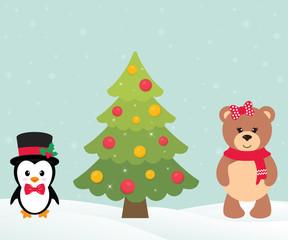 cute penguin with christmas fir tree and cute bear