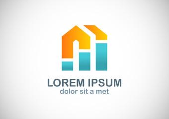 shape letter m building colored logo