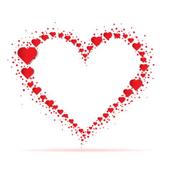 Romantic heart shaped frame with paper cut red hearts and red confetti on white background. Vector illustration.