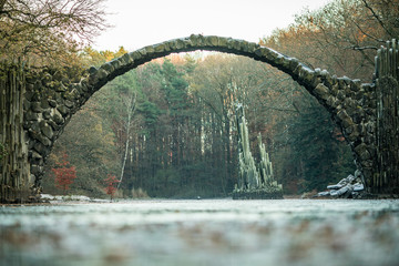 Rakotzsee with Rakotz bridge (Rakotzbrucke) in Rhododendron park, Kromlau, Germany