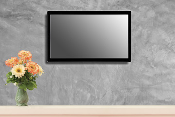 LED television screen mockup, blank hdtv on concrete wall in the room