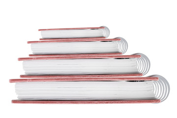 close-up of notebook isolated on white background