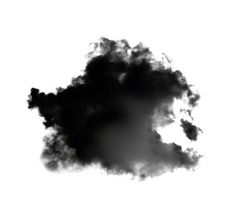 black clouds or smoke isolated on white background