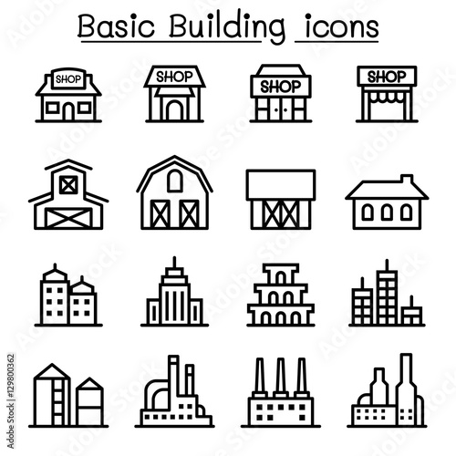 u0026quot basic building icon set u0026quot  stock image and royalty