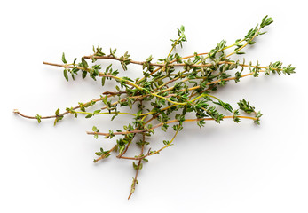 Thyme isolated on whjte, from above