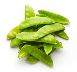 Snow peas isolated on white, from above
