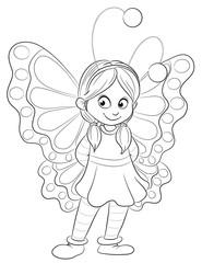 Vektor Illustration eines Mädchens im Schmetterlingskostüm
